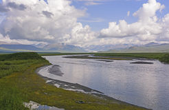 Glacier and Glacial River in the Wilds Stock Photo