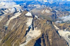 Glacier at Grossglockner massif aerial view Stock Photography