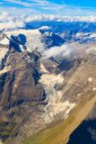 Glacier at Grossglockner massif aerial view Royalty Free Stock Photo