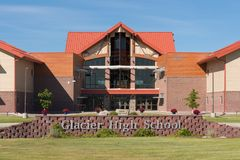 Glacier High School. Exterior of the Glacier High School on Wolfpack Way in Kalispell, Montana stock photography