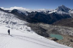 Glacier hiking. Climbing in Cordillera Blanca, Peru Royalty Free Stock Images
