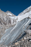 Glacier in the Himalayas. Close up of a glacier amid rocks in the Himalayas near Mount Everest Stock Image