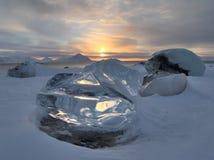 Glacier ice on the Arctic shore. Spitsbergen, Svalbard royalty free stock photos