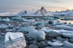 Glacier ice floating in the Arctic fjord - Spitsbergen Stock Photos