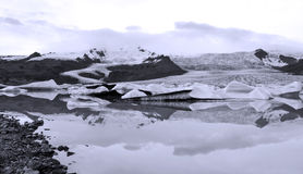 Glacier in iceland. Glacier  and icefloe reflecting in the lake Royalty Free Stock Photography