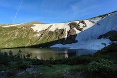 Glacier on the Ivanovskoe Lake. Kuznetskiy Alatau. Republic of K Stock Image