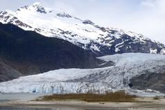 Glacier in Juneau. Mendenhall Glacier in the outskirts of Juneau, Alaska royalty free stock image
