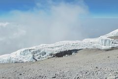 Glacier of Kilimanjaro. The glaciers of Mount Kilimanjaro viewed on our way down from Uhuru Peak Royalty Free Stock Photo
