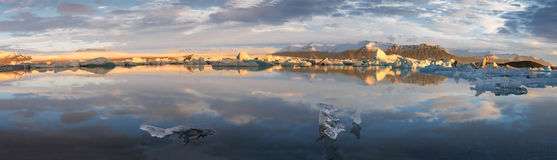 Glacier Lagoon in east Iceland - panorama Stock Photography