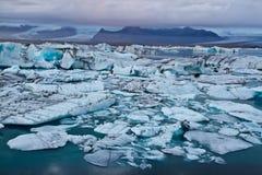 Glacier lagoon icebergs Stock Images