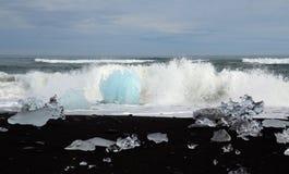 Glacier Lagoon icebergs on shore Stock Images