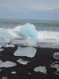 Glacier Lagoon icebergs on shore Stock Photos