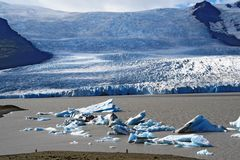 Glacier lagoon in Iceland. Beautiful glacier and glacier lagoon in Iceland Stock Photos