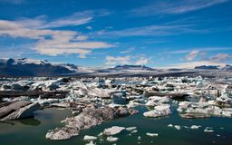 Glacier lagoon in Iceland. Icebergs floating in Jokulsarlon lagoon in Iceland stock photo