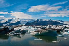 Glacier lagoon in Iceland. Icebergs floating in Jokulsarlon lagoon in Iceland Stock Images