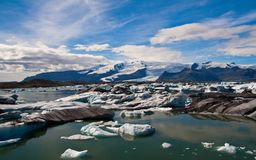 Glacier lagoon in Iceland. Icebergs floating in Jokulsarlon lagoon in Iceland royalty free stock image