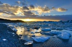 Glacier lagoon, Jokulsarlon, Iceland Royalty Free Stock Photos