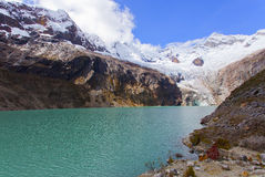 Glacier Lagoon. This turquoise lake is at an altitude of 5000 m in the Huascaran National Park, Ancash, Peru. It is formed snowmelt of snowcapped Stock Photography