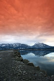 Glacier lake at beautiful sunset Stock Photos
