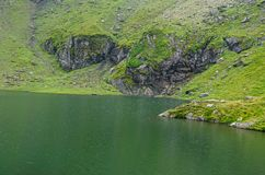 The glacier lake called Balea Balea Lac on the Transfagarasan. Road from Fagaras mountains stock images