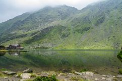 The glacier lake called Balea Balea Lac on the Transfagarasan stock photo
