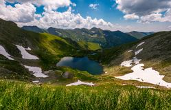 Glacier lake Capra in Southern Carpathians. Beautiful summer landscape with gorgeous sky in Fagaras Mountains of Romania Stock Photography