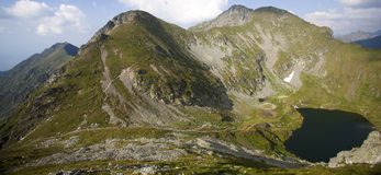 Glacier lake and high mountains in Fagaras, Carpathians,Romania,Europe Royalty Free Stock Images