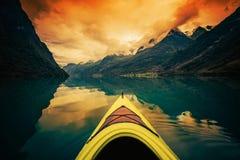 Glacier Lake Kayaking Stock Photography