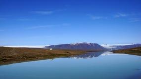 Glacier Lake Langjökull. Reflection in glacier lake Hvitarvatn of the Langjökull glacier in Iceland royalty free stock image