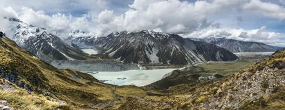 Glacier lake with mountains and clouds panorama