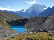 Glacier lake near Larke La pass Royalty Free Stock Photos