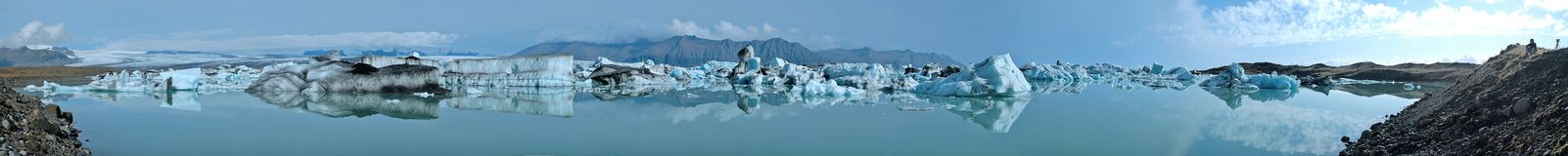 Glacier Lake Panorama. Jokulsarlon Iceland (180 Degree Panorama Stock Photos