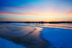 The glacier Lake and snow sunset glow Royalty Free Stock Photography