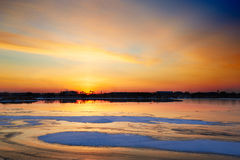 The glacier Lake and sunset glow Royalty Free Stock Photos