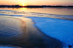 The glacier Lake sunset Stock Photography