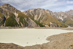Glacier lake at the Tasmanian glacier. In New Zealand royalty free stock photography