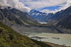 Glacier lakes and distant view of Mt Cook Stock Images