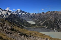 Glacier lakes and Mt Cook Royalty Free Stock Photography