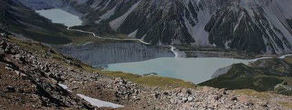 Glacier lakes situated at the bottom of Mt Cook Royalty Free Stock Photos