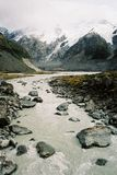 Glacier landscape. River coming down the mountain glacier (Mount Cook, New Zealand Stock Photos