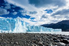 Glacier landscape view, holiday travel. Global warming and clima. The Perito Moreno Glacier is a glacier located in the Los Glaciares National Park in Santa Cruz Royalty Free Stock Image