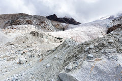 Glacier landslide mountains ice snow peaks cliffs, Bolivia. Stock Photography