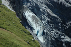 Glacier and meadow in valley nearby Grindelwald in Alps. Stock Photography