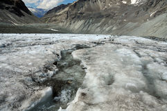 Glacier melting. Ice melting on a glacier causes a river on its surface. Global warming is causing the worlds glaciers to melt Royalty Free Stock Images