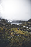 Glacier melting and flow into Mueller Lake. Royalty Free Stock Photos