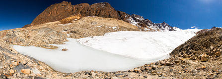 Glacier melting huge ice mountains ridge panorama Bolivia landscape travel. Royalty Free Stock Photography