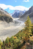 Glacier at Mont Blanc Royalty Free Stock Photos