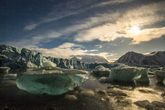 Glacier in moon lights Stock Photography