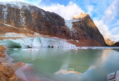 Glacier mountain Edith Cavell. Glacier lake at Mount Edith Cavell, Jasper NP stock images