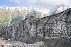 Glacier & Mountain in Karakoram. Pattern on the galcier face Royalty Free Stock Photo